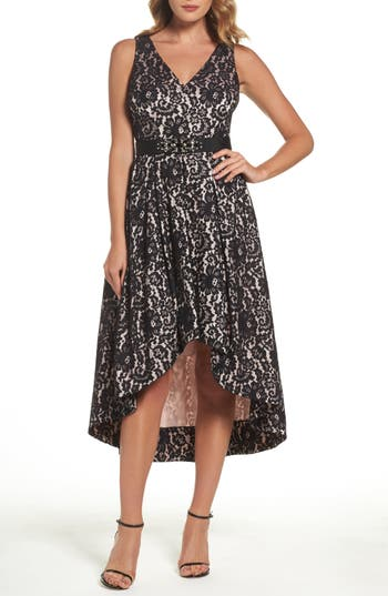 Eliza J Belted Lace High/low Dress, Black
