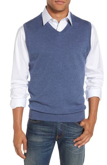 Big & Tall Nordstrom Shop Merino Wool Sweater Vest, Blue