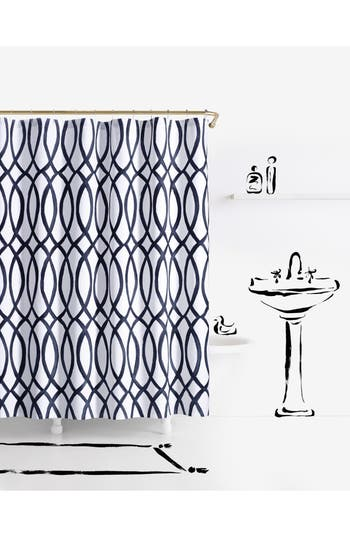 Kate Spade New York Painted Trellis Shower Curtain, Size One Size - White