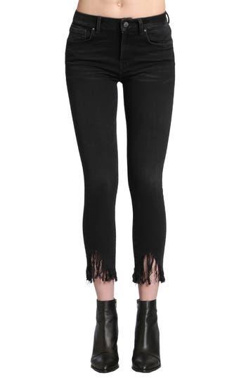 Mavi Jeans Tess Fringe Skinny Crop Jeans, Black