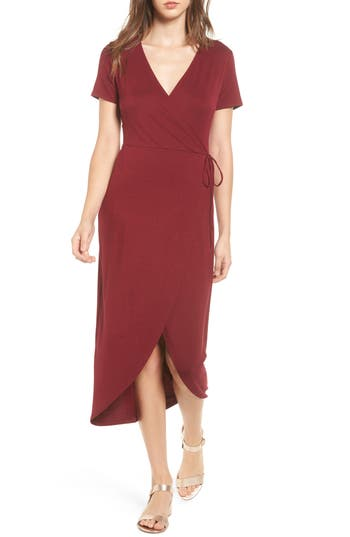 One Clothing Knit Wrap Midi Dress, Burgundy
