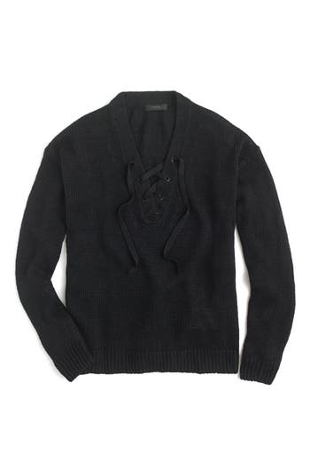 J.crew Linen Lace-Up Beach Sweater, Black