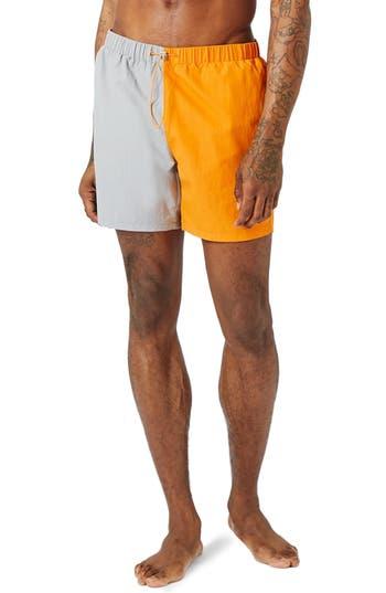 Men's Topman Cut & Sew Swim Trunks