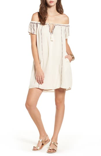 Lush Embroidered Off The Shoulder Dress, Ivory