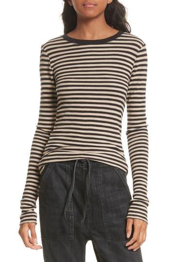 Women's Vince Railroad Stripe Crewneck Sweater, Size X-Small - Brown