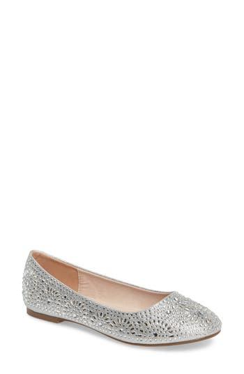 Lauren Lorraine Brooke Crystal Embellished Ballet Flat- Metallic