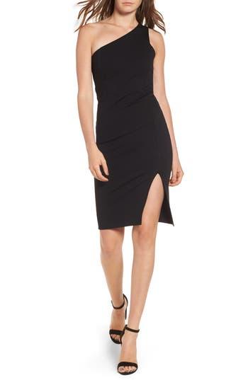 Soprano One-Shoulder Body-Con Dress, Black