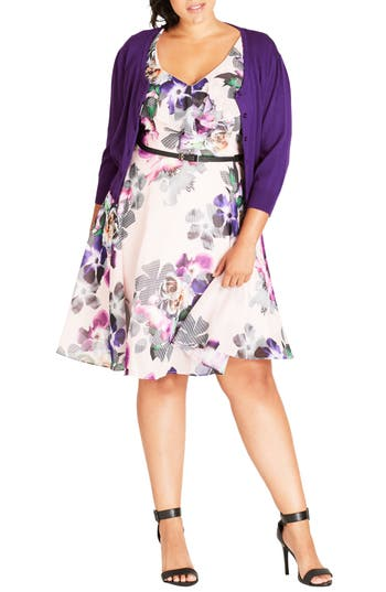 Plus Size Women's City Chic Cute Button Cardigan, Size Small - Purple