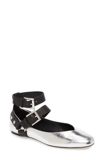 Rebecca Minkoff Vivica Ankle Strap Flat, Metallic