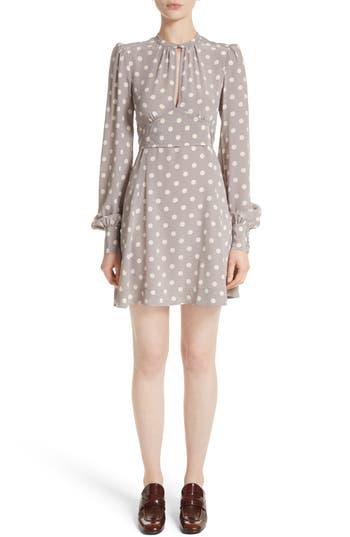 Marc Jacobs Polka Dot Silk Crepe De Chine Dress, Grey