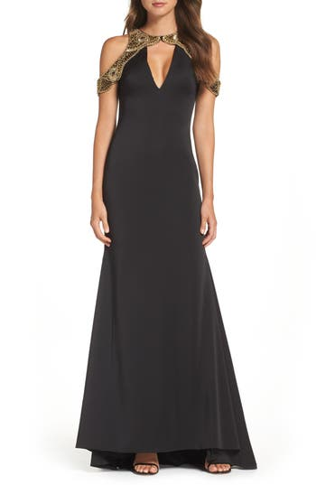 Ieena For MAC Duggal Embellished Cold Shoulder Gown, Black