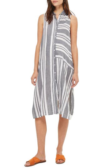 Topshop Stripe Maternity Shirtdress, Grey