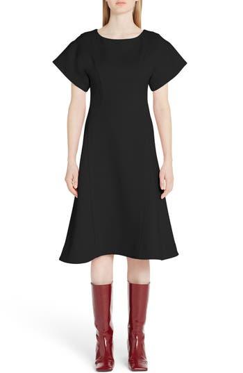 Marni Double Face Wool Crepe A-Line Dress, US / 40 IT - Black