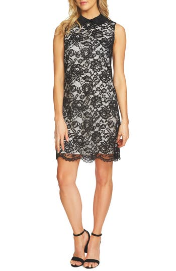 Cece Corded Lace Sheath Dress, Black