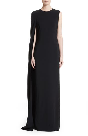 Stella Mccartney Stretch Cady One-Shoulder Cape Gown, US / 40 IT - Black
