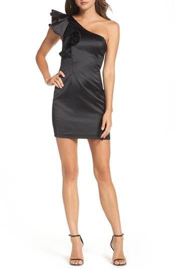 Bardot Estella Frill One-Shoulder Minidress, Black