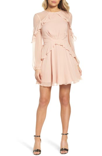 Greylin Libbie Ruffle Silk Dress, Pink