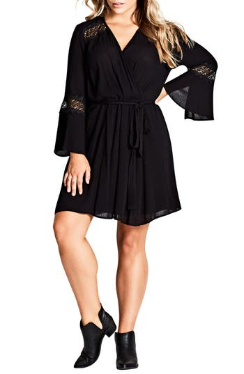 Plus Size Women's City Chic Lacey Bell Faux Wrap Dress, Size X-Small - Black