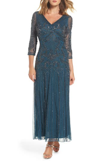 Pisarro Nights Embellished Mesh Drop Waist Dress, Blue