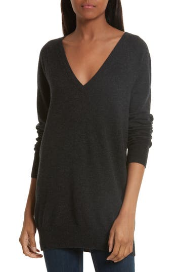 Equipment Asher V-Neck Wool & Cashmere Sweater, Grey