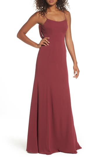 Watters Melanie Cowl Back Chiffon Gown, Red