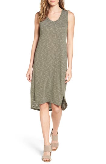 Caslon Shirttail Hem Tank Dress, Green