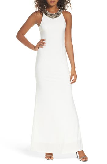 Lulus Pledging My Love Beaded Gown, White