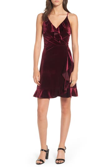 Women's Soprano Ruffle Velvet Faux Wrap Dress, Size X-Small - Burgundy