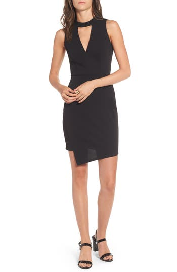 Soprano Asymmetrical Body-Con Dress, Black