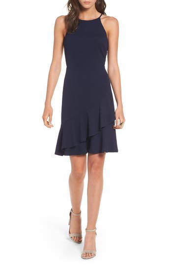 Soprano Ruffle Hem Knit Dress, Blue