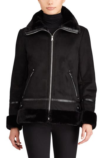 Women's Lauren Ralph Lauren Faux Shearling Bomber Jacket, Size X-Small - Black
