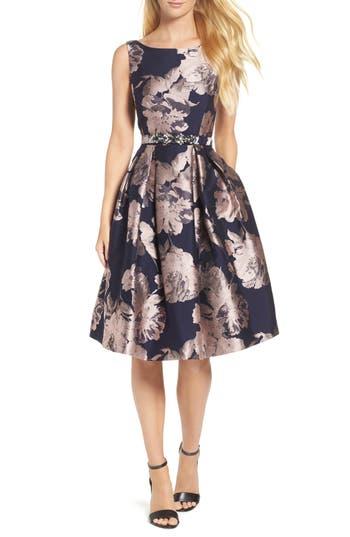 Eliza J Belted Brocade A-Line Dress, Blue