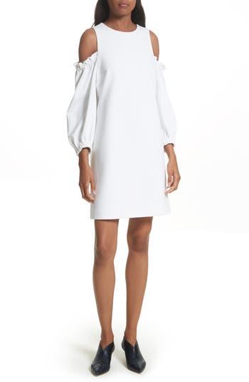 Tibi Crepe Cold Shoulder Shift Dress, White