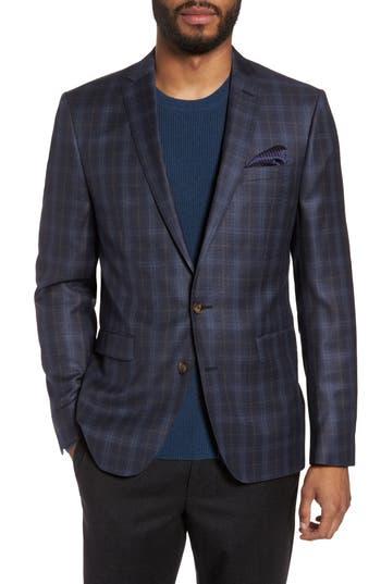 Sand Trim Fit Plaid Wool Sport Coat, Grey