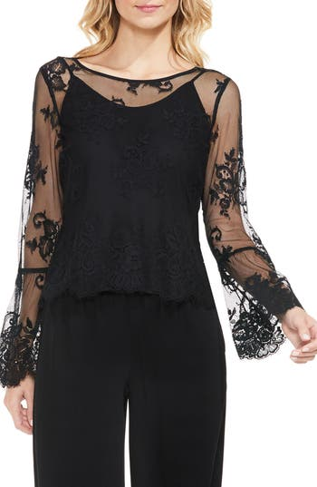Women's Vince Camuto Bell Sleeve Mesh Lace Blouse