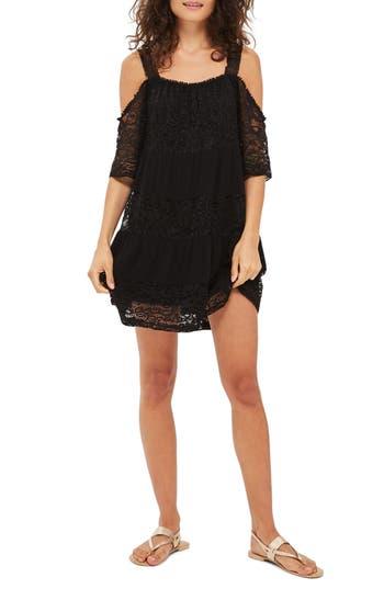 Topshop Lace Off The Shoulder Babydoll Dress, US (fits like 0) - Black