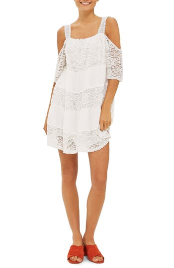 Topshop Lace Off The Shoulder Babydoll Dress, US (fits like 0-2) - White