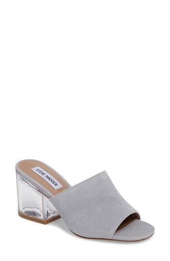 Steve Madden Dalis Clear Heel Slide Sandal- Grey