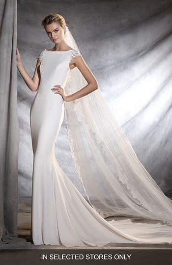 Pronovias Olbia Cap Sleeve Lace Back Crepe Mermaid Gown