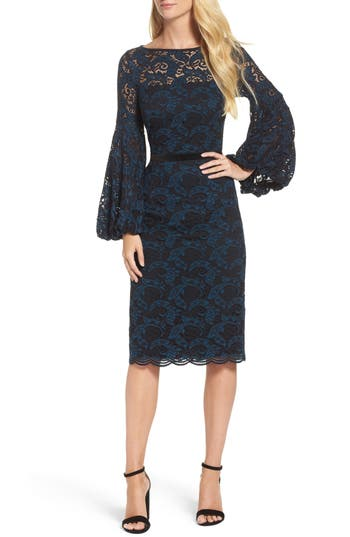 Maggy London Lace Bishop Sleeve Dress, Blue