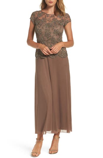 Pisarro Nights Beaded Mesh Gown, Brown