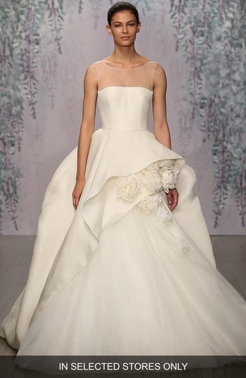 Monique Lhuillier Rosette Detail Silk Ballgown Dress