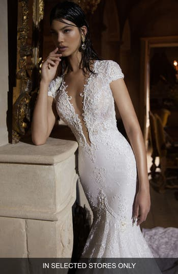Berta Plunging V-Neck Cap Sleeve Lace Mermaid Gown