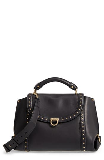 Salvatore Ferragamo Medium Sofia Studded Leather Satchel -