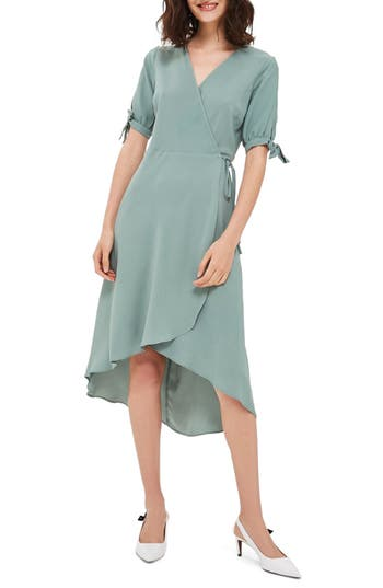 Topshop Dusty Emma Tie Sleeve Wrap Dress, US (fits like 0-2) - Green