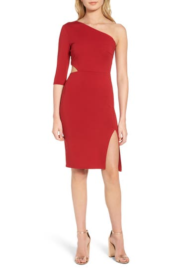 Soprano Side Cutout One-Shoulder Dress, Red