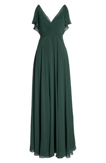 Jenny Yoo Cassie Flutter Sleeve Chiffon A-Line Gown, Green