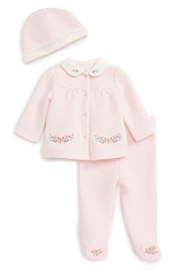 Infant Girl's Little Me Quilted Jacket, Pants & Hat Set