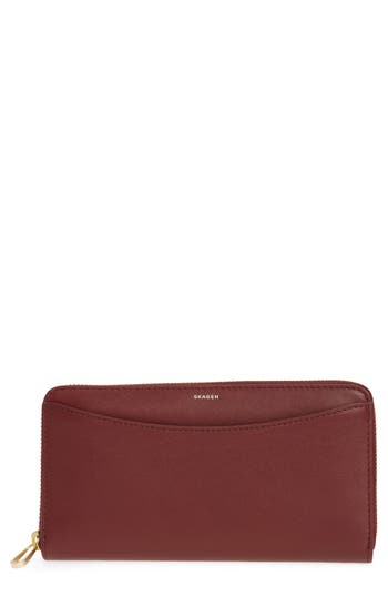 Skagen Leather Continental Wallet - Red