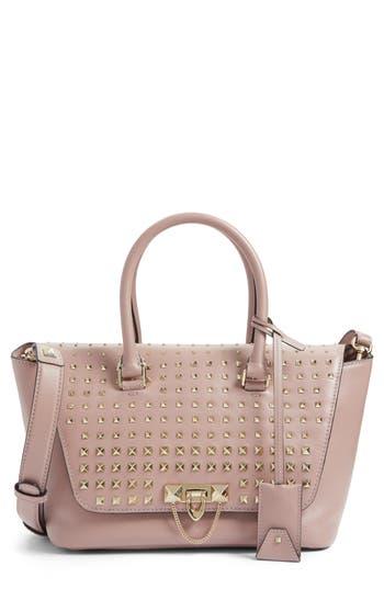 Valentino Garavani Small Demilune Studded Calfskin Leather Satchel - Pink
